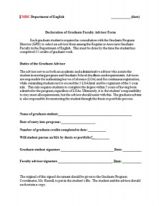 Declaration of Graduate Faculty Advisor Form